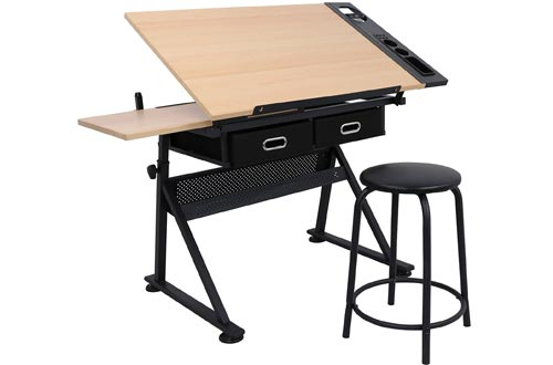ZENY Height Adjustable Drafting Draft Desk Drawing Tables Desk Tiltable Tabletop w/Stool and Storage Drawer for Reading, Writing Art Craft Work Station