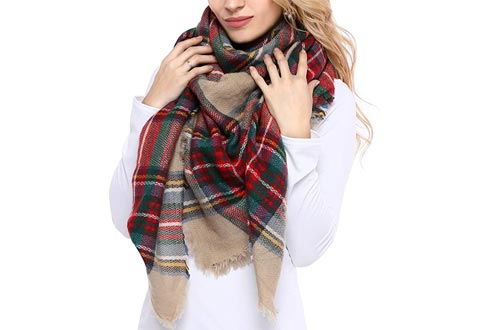 Bess Bridal Women's Plaid Blanket Winter Scarfs Warm Cozy Tartan Wrap Oversized Shawl Cape