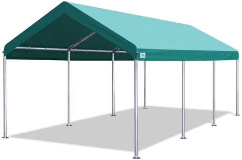 ADVANCE OUTDOOR 10 x 20 FT Heavy Duty Carport Car Canopy Garage Shelters Party Tent, Adjustable Height from 6ft to 7.5ft, Green