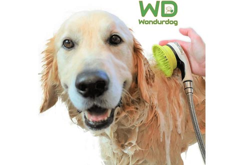 Wondurdog Quality at Home Dog Wash Kit for Showers | Water Sprayer Brush & Rubber Shield | Wash Your Pet and Don't Get Wet | Shield Water from Dogs Ears, Eyes and Yourself!