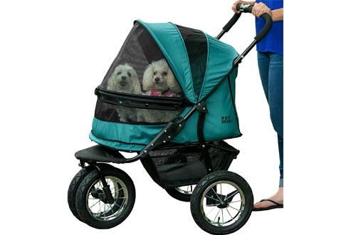 Pet Gear NO-ZIP Double Pet Strollers, Zipperless Entry, for Single or Multiple Dogs/Cats, Plush Pad + Weather Cover Included, Large Air Tires