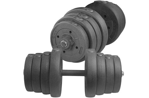 YAHEETECH Adjustable 66LB Dumbbell Weight Sets Barbell Lifting w/ 4 Spinlock Collars & 2 Connector Options for Gym Home Bodybuilding Training