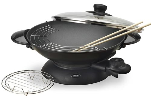 Aroma Housewares AEW-306 5-Quart Electric Woks with Tempered Glass Lid, Cast Aluminum Nonstick Skillet with Precision Temperature Control, Cooking Chopsticks, Tempura and Steaming Racks,Black