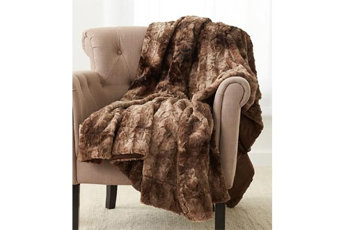 "Pinzon Faux Fur Throw Blankets 63"" x 87"", Alpine Brown"