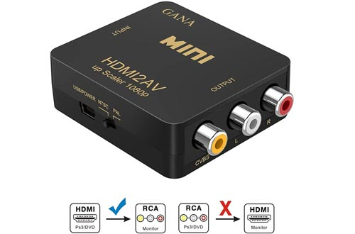 GANA HDMI to RCA,HDMI to AV, 1080P HDMI to 3RCA CVBS AV Composite Video Audio Converters Adapter Supports PAL/NTSC with USB Charge Cable for PC Laptop HDTV DVD-Black