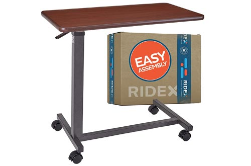 Adjustable Overbed Tables - Non-Tilt Mobile Bedside Desk Tray with Swivel Caster Wheels - Serve Meals, Use Laptop/Computer, Writing - Great for Elderly, Hospital Patients, Home Care -Hospital Bed Tables