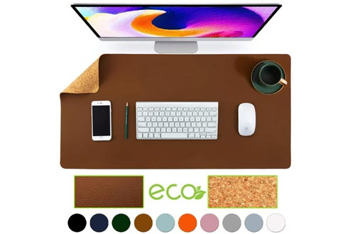 "Aothia Eco-Friendly Natural Cork & Leather Double-Sided Office Desk Mat Mouse Pads Smooth Surface Soft Easy Clean Waterproof PU Leather Desk Protector for Office/Home Gaming (Brown,31.5"" x 15.7"")"