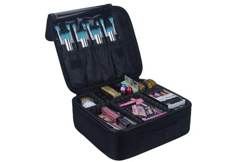 Relavel Travel Makeup Train Cases Makeup Cosmetic Cases Organizer Portable Artist Storage Bag with Adjustable Dividers for Cosmetics Makeup Brushes Toiletry Jewelry Digital Accessories Black