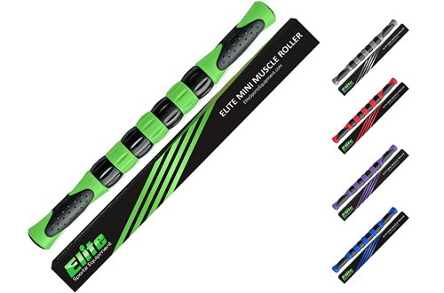 Elite Massage Muscle Roller Sticks for Runners - Fast Muscle Relief from Sore and Tight Leg Muscles and Cramping. Five Bright Colors to Choose from