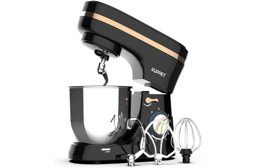 Kuppet Stand Mixers, 380W, 8-Speed Tilt-Head Electiric Food Stand Mixers with Dough Hook, Wire Whip & Beater, Pouring Shield, 4.7QT Stainless Steel Bowl. (Black)