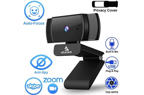 2020 1080p Webcams with Microphone and Privacy Cover, AutoFocus, Noise Reduction, HD USB Web Camera, for Zoom Meeting YouTube Skype FaceTime Hangouts, PC Mac Laptop Desktop